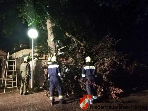 Unwettereinsatz-Baum auf Auto gestürzt